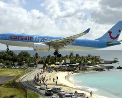 Oddest Beach Holiday, Maho Beach, Saint Martin Island, Corsair Airbus landing