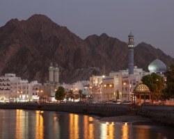 Tourist Attraction, Muscat, Oman, City coastal night view