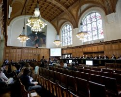 The Hague, Netherlands, Peace Palace, Great Hall of Justice durring a proccess