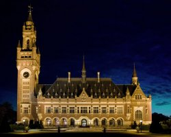 The Hague, Netherlands, Peace Palace at night