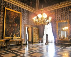 Perfect City Break Holiday, Italy, Naples, Palazzo Reale interior hall view