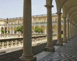 Perfect City Break Holiday, Italy, Naples, Certosa di San Martino interior court detail