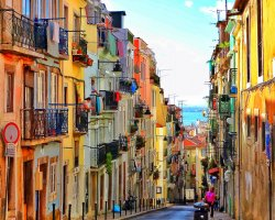 Perfect City Break Holiday, Portugal, Lisbon, Colored buildings