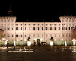 Perfect City Break Holiday, Italy, Naples, Palazzo Reale front view by night