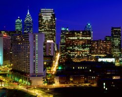 Cradle of the USA, Philadelphia, Pennsylvania, City view by night