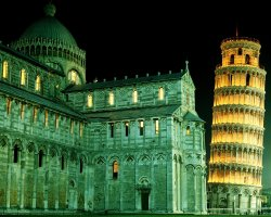 Pisa, Italy, Leaning Tower of Pisa and the Cathedral at night