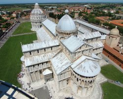 Pisa, Italy, The Duomo of Pisa viewed from the top of the Leaning Tower