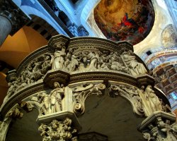 Pisa, Italy, The magnificent pulpit of the Pisa Cathedral