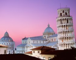 Pisa, Italy, Leaning Tower of Pisa and the Cathedral overview