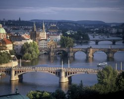 Prague, Czech Republic, Bridges Spanning the River Vltava