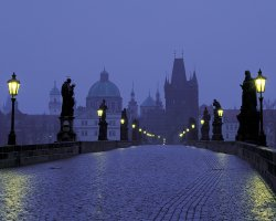 Prague, Czech Republic, City at dusk