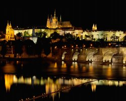 Prague, Czech Republic, Iluminated in night