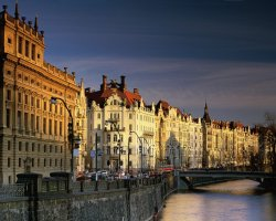 Prague, Czech Republic, Architecture of houses on riverside