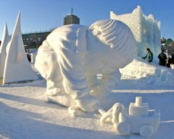 Quebec City, Canada, Child ice statue at Winter Carnival