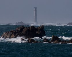 Remote Holiday, Bishop Rock, Lighthouse versus the angry sea