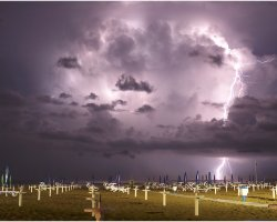 Rimini, Italy, Lightning over the beach