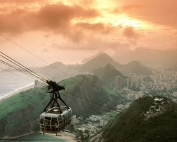 Rio De Janeiro, Brazil, Sunset from Sugarloaf Mountain