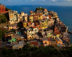 Romantic Holiday, Liguria, Italy, Cinque Terre down view