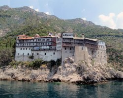 Select Holiday, Mount Athos, Greece, Europe, Close monasterie view
