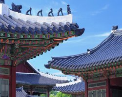 Seoul, South Korea, Asia, Gyeongbokgung roof architecture