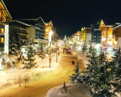 Ski Holiday, Val DIsere, France, Town by night