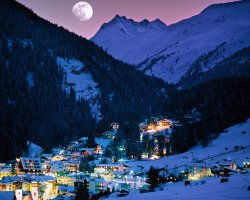 Ski Holiday, Sankt Anton am Arlberg, Austria, Town view by night