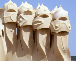Barcelona, Spain, Abstract architecture on the roof of Casa Mila