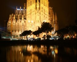 Barcelona, Spain, Sagrada Familia Cathedral at night