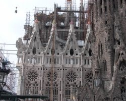 Barcelona, Spain, Sagrada Familia Cathedral inside with scaffolding detail