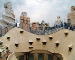 Barcelona, Spain, Visitors on the roof of Casa Mila