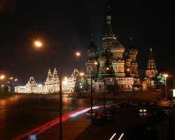 Saint Basil Cathedral, Moscow, Russia, At night