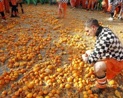 Strange Holiday, Piedmont, Italy, Ivrea Carnival, Orange aftermath