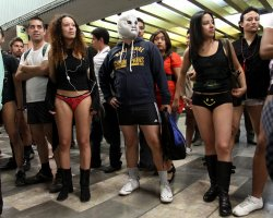 Strange Holiday, Worldwide, No Pants Day, Subway ride day time
