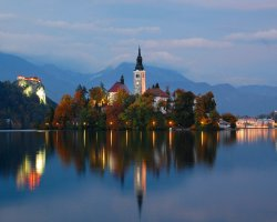 Stunning Places Holiday, Slovenia, Lake Bled, Overview by dusk