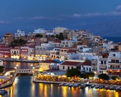 Sublime Perfect Holiday, Crete, Greece, City harbor at night
