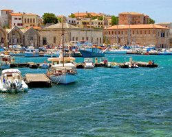 Sublime Perfect Holiday, Crete, Greece, Boats at port panorama