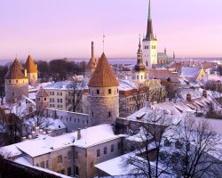Tallinn, Estonia, City view on winter
