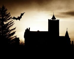 Halloween Holiday, Bran Castle, Brasov, Romania, CGI silhouette