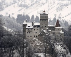 Halloween Holiday, Bran Castle, Brasov, Romania, Overview by winter