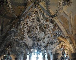 Halloween Holiday, Bone Church, Prague, Czech Republic, Chandelier view