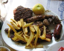 Tavernas in Thassos, Prinos, Greece, Syropoulos Taverna, Mixed grill