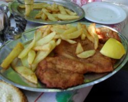 Tavernas in Thassos, Theologos, Greece, Stelios Tavern, Schnitzel with potatoes