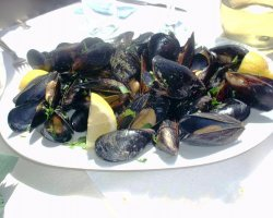Tavernas in Thassos, Potos, Greece, Irene Tavern, Plate of clams