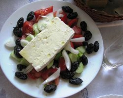 Tavernas in Thassos, Prinos, Greece, Syropoulos Taverna, Greek salad
