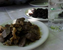 Tavernas in Thassos, Theologos, Greece, Stelios Tavern, Liver with sauce