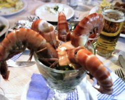 Tavernas in Thassos, Potos, Greece, Akrogiali Taverna, Shrimps