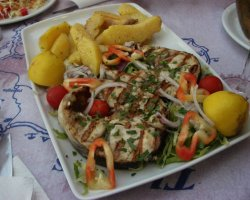 Tavernas in Thassos, Skala Potamia, Greece, Korali restaurant, Swordfish with garlic