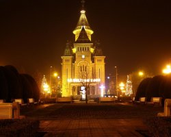 Timisoara, Romania, Orthodox Cathedral at night
