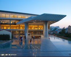 Acropolis Museum, Athens, Greece, Entrance during sunset
