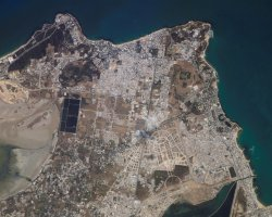 Tunisia, Africa, Carthage view from space